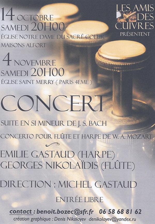 Le concerto pour flûte, harpe et orchestre de W. Am. Mozart et la Suite en Si mineur pour flûte et orchestre de J. S. Bach