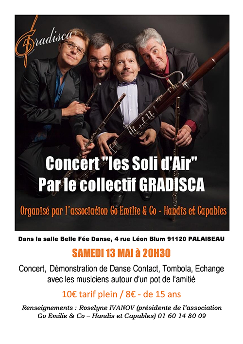 Concert de l'Ensemble Les Soli d'Air au profit de l'Association Go Emilie & Co – Handis et Capables